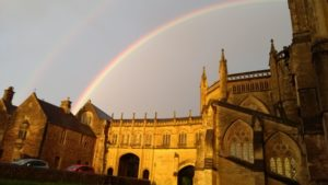 Rainbow over Wells Cathedral